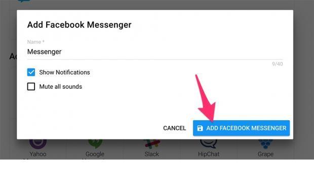 Sau khi lựa chọn xong dịch vụ chat, bạn hãy đặt tên cho tab ấy, kích hoạt /  huỷ Notification, âm thanh thông báo theo ý thích và bấm ' Add... '